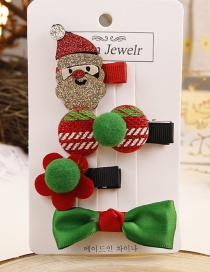 Lovely Red+green Santa Claus&bowknot Decorated Hair Clip(4pcs)