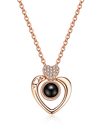 Fashion Gold Color Hollow Out Heart Shape Decorated Necklace