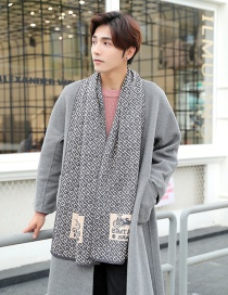 Fashion White+gray Color Matching Design Knitted Men's Scarf