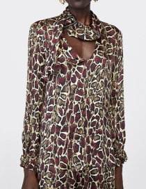 Fashion Red+brown Leopard Pattern Decorated Simple Shirt