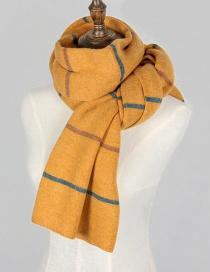 Fashion Yellow Stripe Pattern Decorated Thicken Scarf