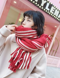 Fashion Red+white Stripe Pattern Decorated Tassel Scarf