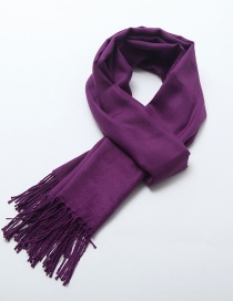 Fashion Purple Tassel Decorated Pure Color Scarf