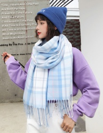 Fashion Blue Grid Pattern Decorated Tassel Scarf
