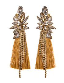 Fashion Yellow Diamond Decorated Long Tassel Earrings