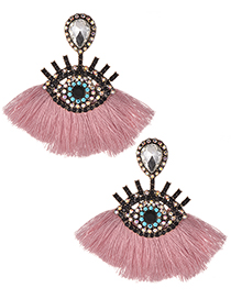 Fashion Pink+white Eye Shape Design Tassel Earrings