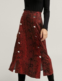 Fashion Red Snake Pattern Decorated Simple Skirt