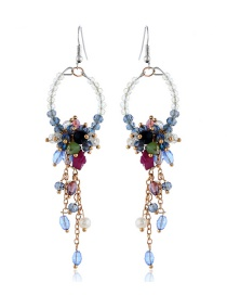 Elegant Multi-color Flowers&beads Decorated Long Earrings