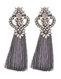 Fashion Gray Tassel&diamond Decorated Long Earrings
