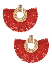 Fashion Red+gold Color Round Shape Decorated Tassel Earrings