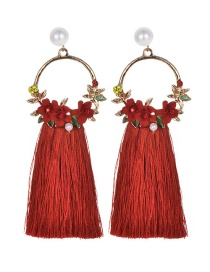 Fashion Red Flowers Decorated Long Tassel Earrings