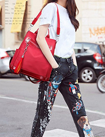 Trendy Claret Red Tassel Decorated Pure Color Bag
