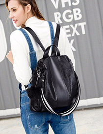 Trendy Blck Fuzzy Ball Decorated Backpack With Pendant