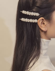 Fashion White Full Pearl Decorated Flower Shape Hair Clip