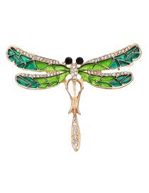 Fashion Green Dragonfly Shape Design Brooch