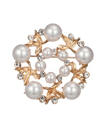 Fashion Gold Color Pearl Decorated Hollow Out Design Brooch