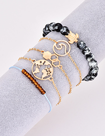 Fashion Multi-color Tortoise&beads Decorated Bracelet (5pcs)
