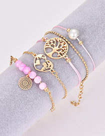 Fashion Pink Hollow Out Tree Decorated Bracelet(5pcs)