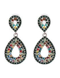 Fashion Multi-color Full Diamond Decorated Waterdrop Shape Earrings