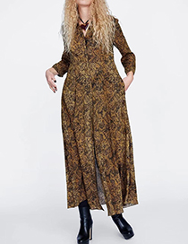Fashion Brown Snakeskin Pattern Decorated Dress