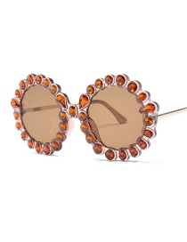 Fashion Orange Round Shape Decorated Sunglasses