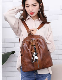 Fashion Brown Pure Color Decorated Backpack