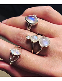 Fashion Silver Color Waterdrop Shape Decorated Rings(3pcs)
