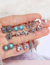Fashion Silver Color Elephant Shape Decorated Earrings(10pairs)