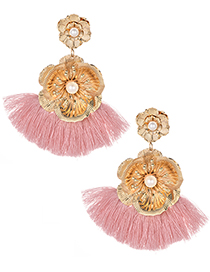 Fashion Pink Flower Shape Decorated Tassel Earrings