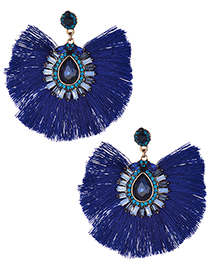 Fashion Sapphire Blue Waterdrop Shape Decorated Tassel Earrings