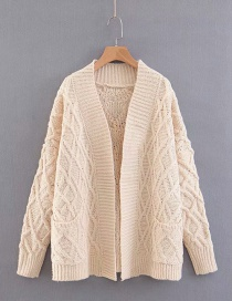 Fashion Beige Pure Color Decorated Coat