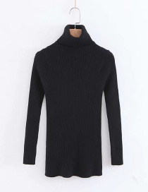 Simple Black Pure Color Decorated Sweater
