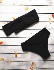 Simple Black Pure Color Decorated Bikini