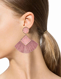 Fashion Pink Squre Shape Decorated Tassel Earrings