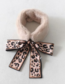Fashion Coffee Leopard Pattern Decorated Scarf