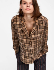 Fashion Brown Grid Pattern Decorated Shirt