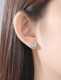 Fashion Silver Color Camera Shape Decorated Earrings