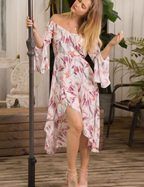 Fashion Pink Off Shoulder Design Long Dress