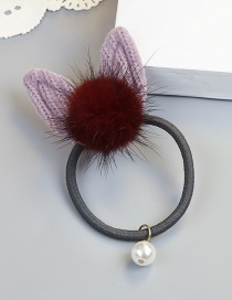 Fashion Purple Rabbit Ear Shape Decorated Pom Ball Hair Rope