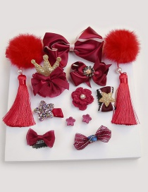 Fashion Red Bowknot Shape Decorated Hair Clip (12 Pcs )