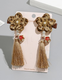 Fashion Khaki Flower Shape Decorated Tassel Hair Clip