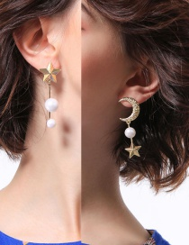 Fashion Gold Color Pearls&moon Shape Decorated Earrings