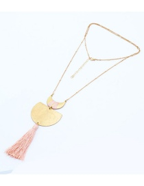 Fashion Pink Moon Shape Pendant Decorated Tassel Necklace