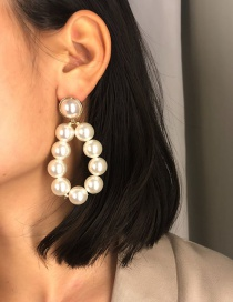 Fashion Silver Color Full Pearl Decorated Earrings