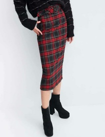 Fashion Red Grids Pattern Decorated Dress