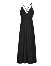 Fashion Black Pure Color Decorated V Neckline Dress