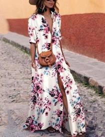 Fashion Pink+white Flower Pattern Decorated Dress