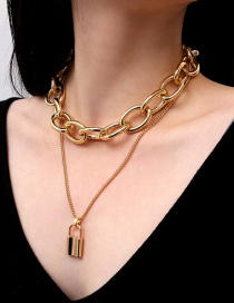 Fashion Gold Color Lock Shape Decorated Necklace