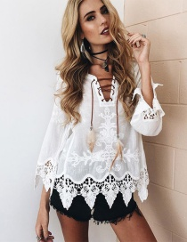 Fashion White Pure Color Decorated Smock