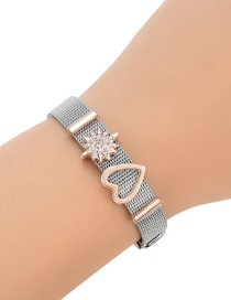 Fashion Silver Color+rose Gold Color Matching Decorated Simple Bracelet